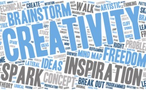 Word Cloud - Creativity and Inspiration. wordclouds about the creative process, grey, blue, white